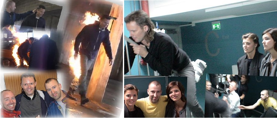 Inspelning av två reklamfilmer med Felix Herngren och systrarna Kallur. Jag hjälpte Felix att brinna och såg till att han inte slog sig på ledstången.